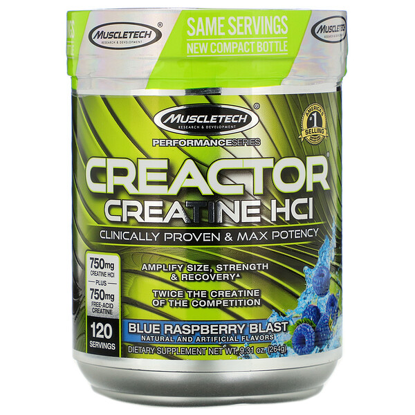 Performance Series, CREACTOR, Creatine HCI, Blue Raspberry Blast, 9.31 oz (264 g)