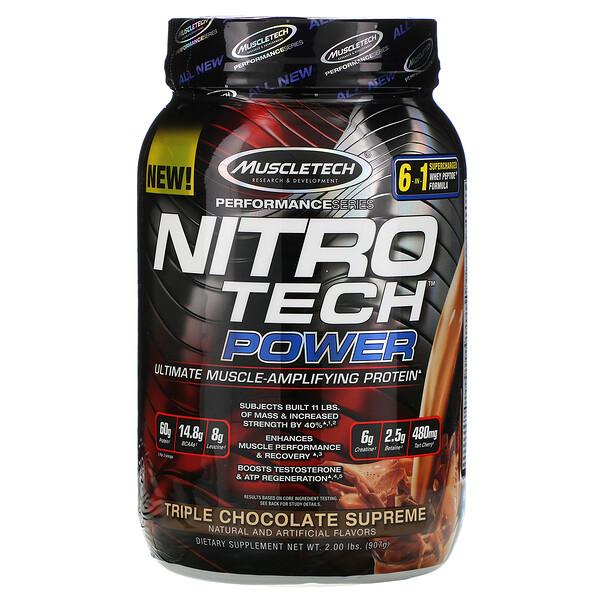 Nitro Tech Power, сывороточный протеин для увеличения мышц, тройной шоколад, 907г (2фунта)