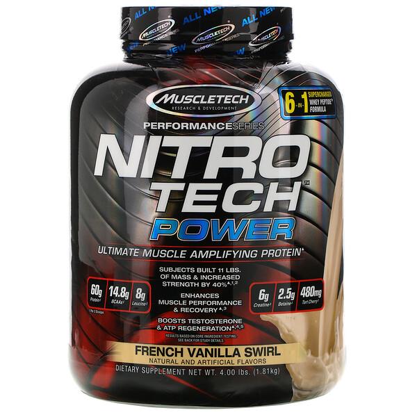 Muscletech, Nitro Tech Power, сывороточный протеин для увеличения мышц, французская ваниль, 1,81кг (4,00фунта)
