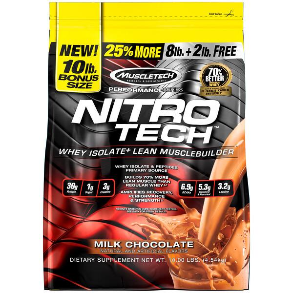 Muscletech, Nitro Tech, сывороточные пептиды и изолят сыворотки, средство для наращивания сухой мышечной массы, сывороточный протеин в порошке, со вкусом молочного шоколада, 4,54кг (10фунтов)
