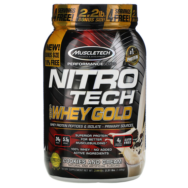 Nitro Tech, 100% Whey Gold, печенье с кремом, 999г (2,20фунта)