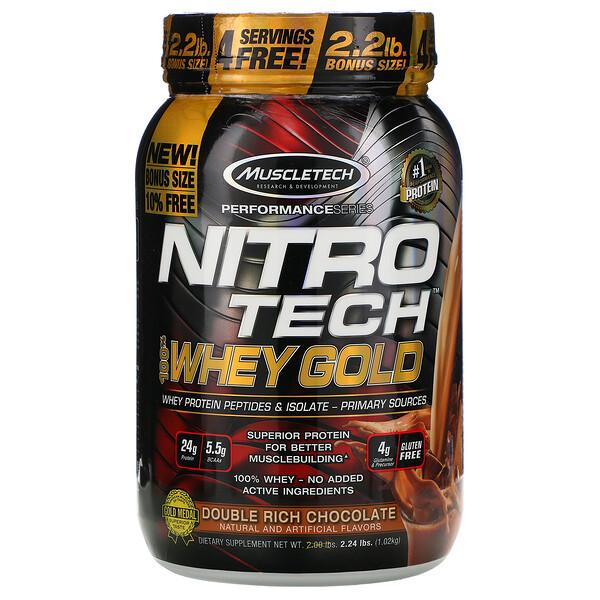 Nitro Tech, 100% Whey Gold (100% сыворотка), двойной шоколад, 1,02кг (2,24фунта)