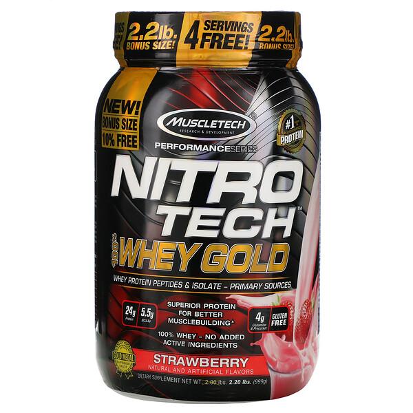 Nitro Tech, 100% Whey Gold, со вкусом клубники, 999г (2,20фунта)