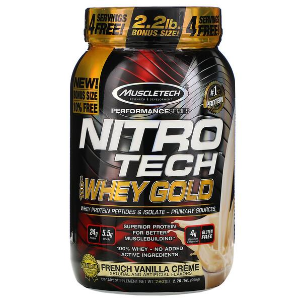 Nitro Tech, 100% Whey Gold (100% сыворотка), французский ванильный крем, 999г (2,20фунта)