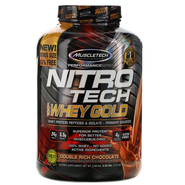 Muscletech, Nitro Tech, 100% Whey Gold, сывороточный протеин в порошке, двойной шоколад, 2,51кг (5,53фунта)