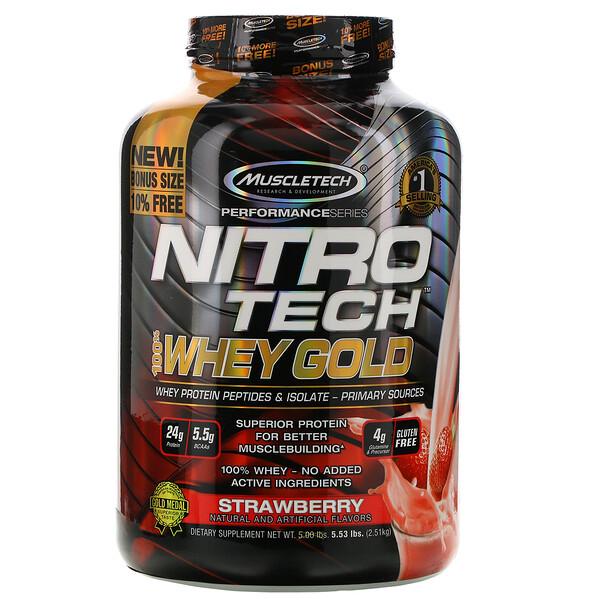 Nitro Tech, 100% Whey Gold, со вкусом клубники, 2,51кг (5,53фунта)