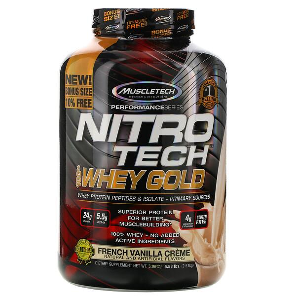 Nitro Tech, 100% Whey Gold (100% сыворотка), французский ванильный крем, 2,51кг (5,53фунта)