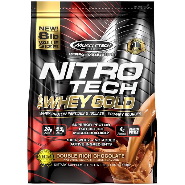 Nitro Tech, 100% Whey Gold, сывороточный белок в порошке, двойной шоколад, 3,63кг (8фунтов)