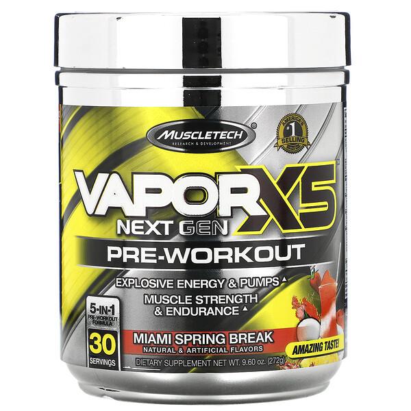 VaporX5, Next Gen, предтренировочный комплекс, со вкусом Miami Spring Break, 272г (9,60унции)