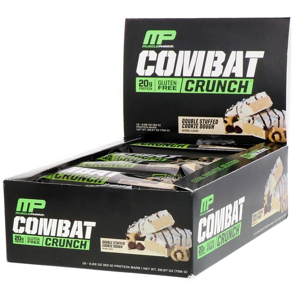 Combat Crunch, двойная начинка с песочным тестом, 12 батончиков по 2,22 унц. (63 г)