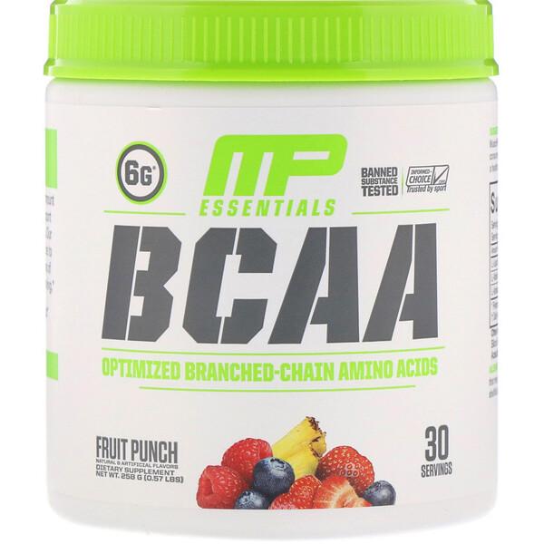 Серия Essentials, аминокислоты с разветвленной цепью (BCAA), фруктовый пунш, 258 г (0,57 фунта)