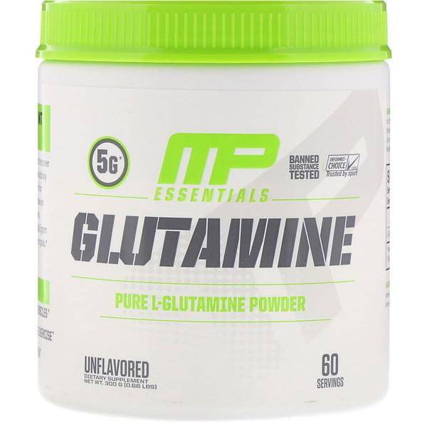 Essentials, глутамин, без ароматизатора, 300 г (0,66 фунта)
