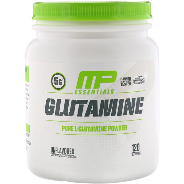 MusclePharm, Essentials, глутамин, без ароматизатора, 600 г (1,32 фунта)