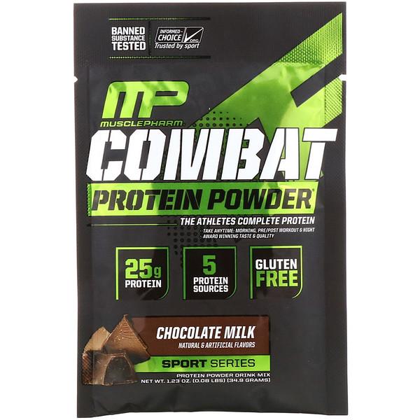 MusclePharm, Combat Protein Powder, шоколадное молоко, 34,9г (1,23унции), пробник (Discontinued Item)