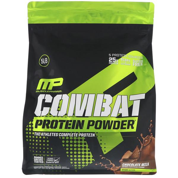 MusclePharm, Белковый порошок «Combat», со вкусом шоколадного молока, 5 фунтов (2268 г) (Discontinued Item)