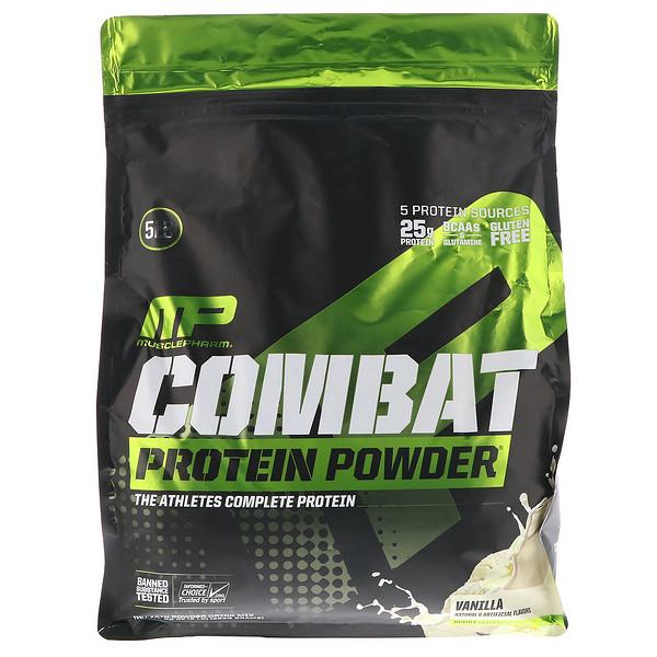 MusclePharm, Combat, протеиновый порошок, со вкусом ванили, 2268г (5фунт, 6унций)