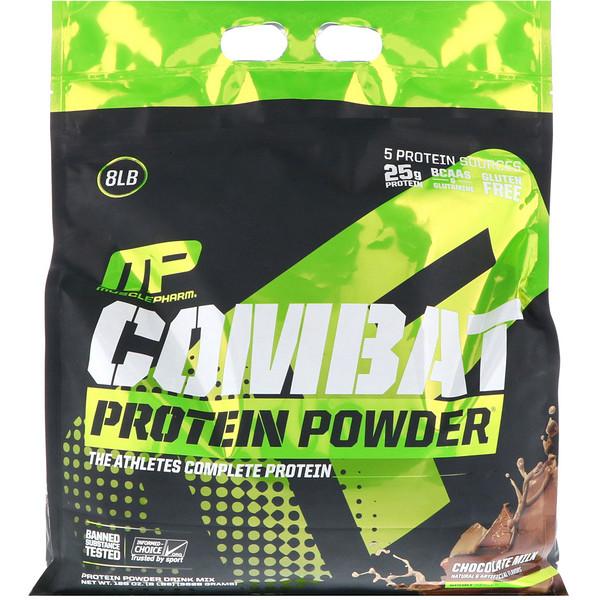 Протеиновый порошок Combat, шоколадное молоко, 8 фунтов (3629 г)