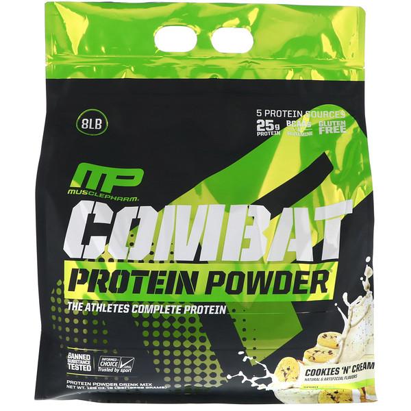MusclePharm, Протеиновый порошок Combat, печенье со сливками, 8 фунтов (3629 г)