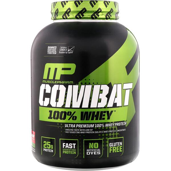 Combat 100% сывороточный протеин, клубника, 80 унции (2269 г)