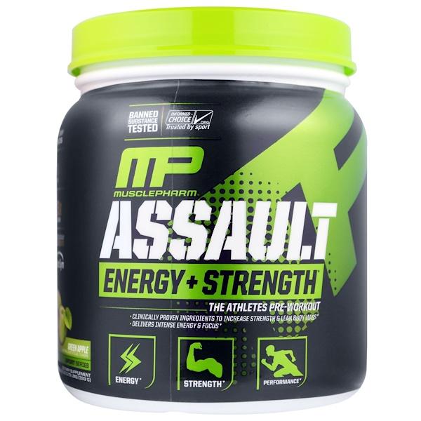 Assault, Energy+Strength, предтренировочная добавка, зеленое яблоко, 333г (11,75унции)