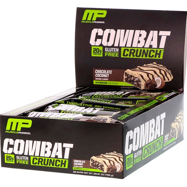 MusclePharm, Combat Crunch, шоколадный кокос, 12 батончиков, (63 г) каждый (Discontinued Item)