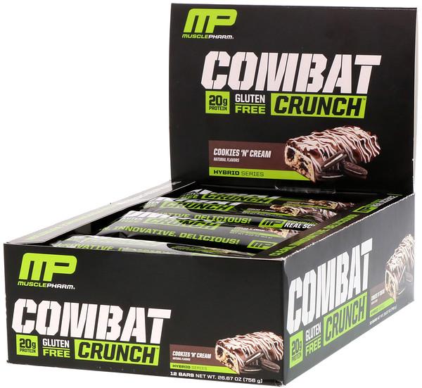 Хрустящие батончики Combat с кремом, 12 батончиков по 2,22 унции (63 г)