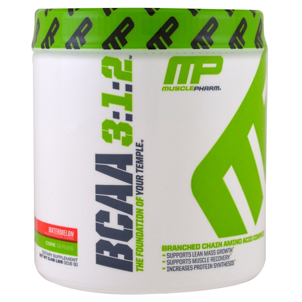 MusclePharm, BCAA 3:1:2, Powder, Watermelon, 30 servings (Discontinued Item)
