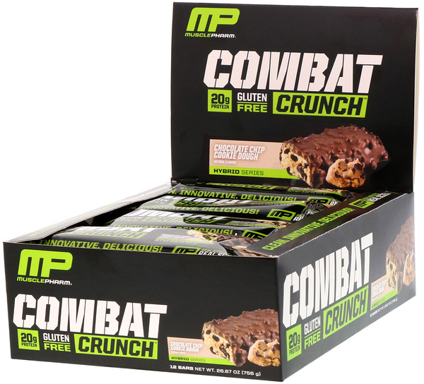 MusclePharm, Combat Crunch, со вкусом шоколадного печенья, 12 батончиков по 63 г