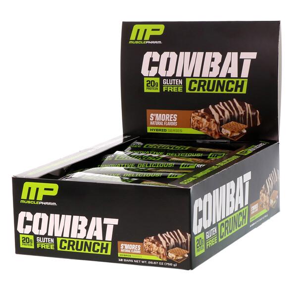 MusclePharm, Битва, хрустящие белковые батончики со вкусом смора, 12 батончиков по 2,22 унции (63 г) (Discontinued Item)