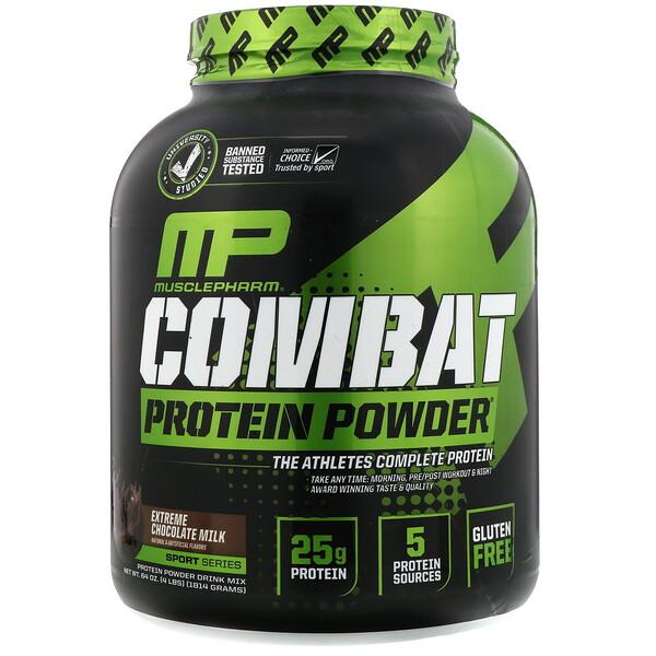 Combat Protein Powder, экстремально шоколадное молоко, 1814г (4фунта)