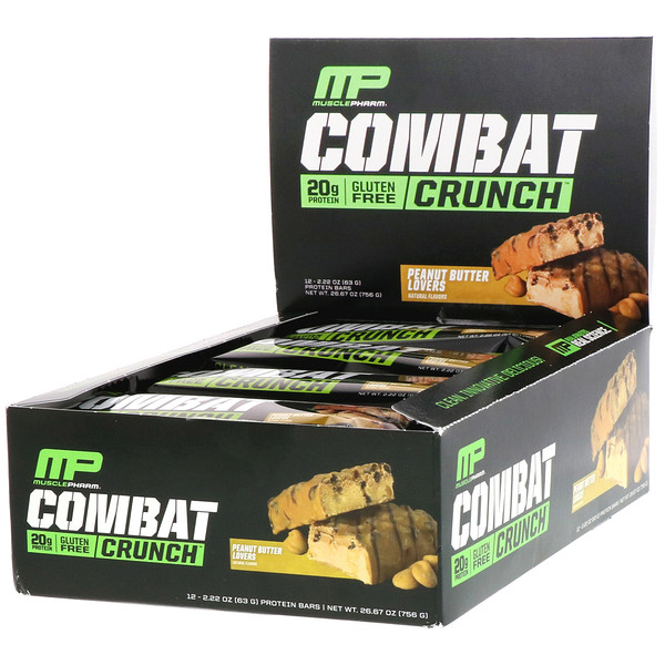 MusclePharm, Combat Crunch, с арахисовым маслом, 12 батончиков, по 2,22 унции (63 г) каждый