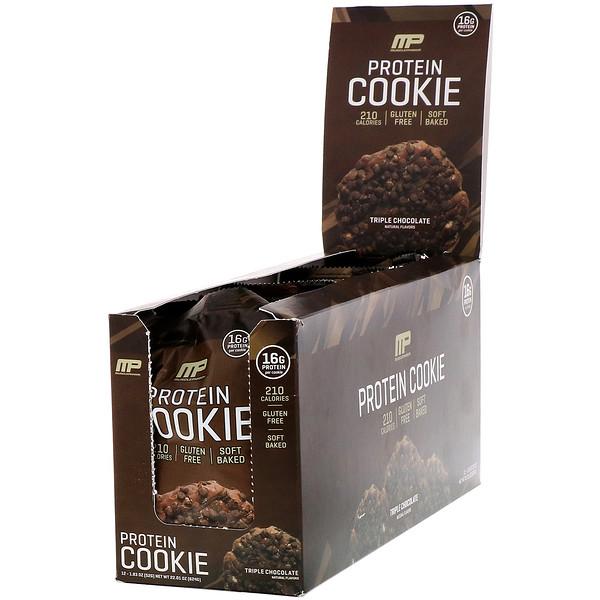 MusclePharm, Протеиновое печенье, вкус «Тройной шоколад», 12шт., 52г (1,83унции) каждое (Discontinued Item)