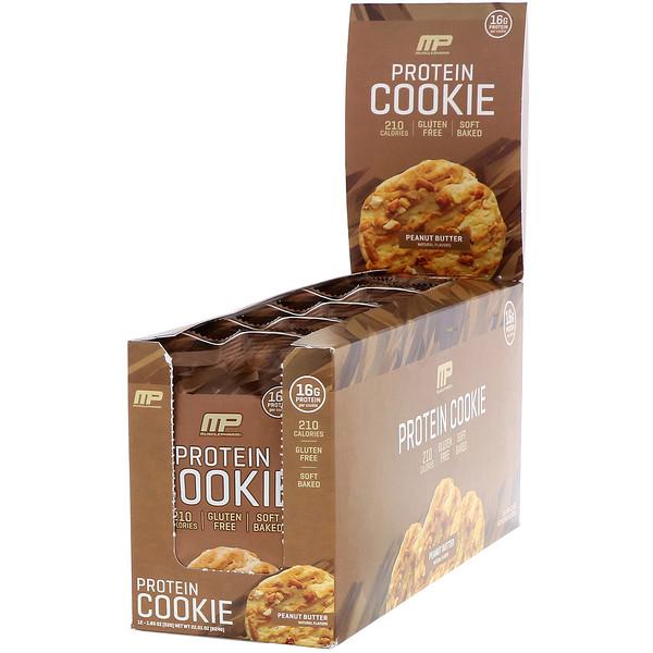 Протеиновое печенье, вкус «Арахисовая паста», 12шт., 52г (1,83унции) каждое