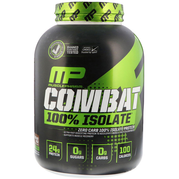 MusclePharm, Combat 100% Isolate, шоколадное молоко, 5 фунтов (2268 г)