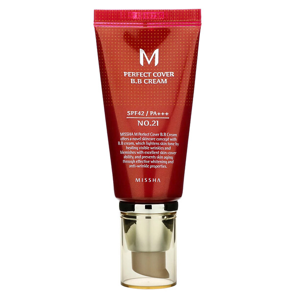 Missha, Perfect Cover BB Cream, BB-крем, SPF42 PA+++, оттенок 21 светло-бежевый, 50мл (Discontinued Item)