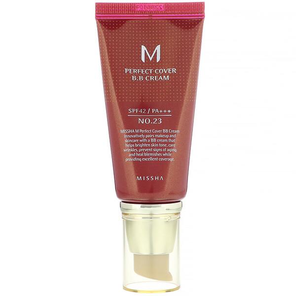 Missha, M Perfect Cover, BB-крем, SPF42 PA+++, оттенок 23натуральный бежевый, 50мл (1,7унции)