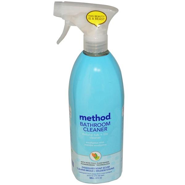 Method, Средство для мытья ванных комнат, чистящее средство для ванны и плитки из натуральных ингредиентов, эвкалипт и мята, 828 мл (28 жидких унций) (Discontinued Item)