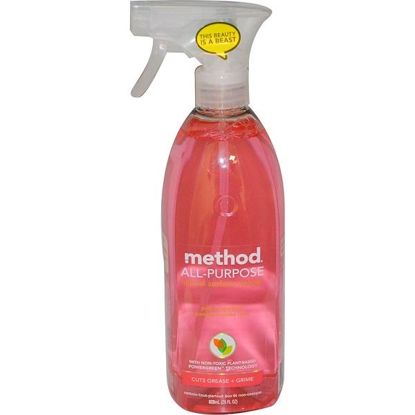 Method, Универсальное натуральное средство для очистки поверхностей, розовый грейпфрут, 28жидк.унций (828мл) (Discontinued Item)