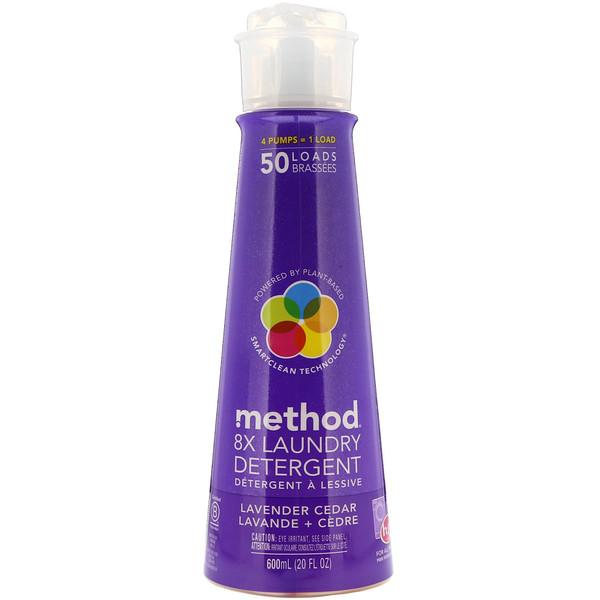 Method, 8х жидкое моющее средство для стирки с ароматом лаванды и кедра, 20 жидких унций (600 мл) (Discontinued Item)