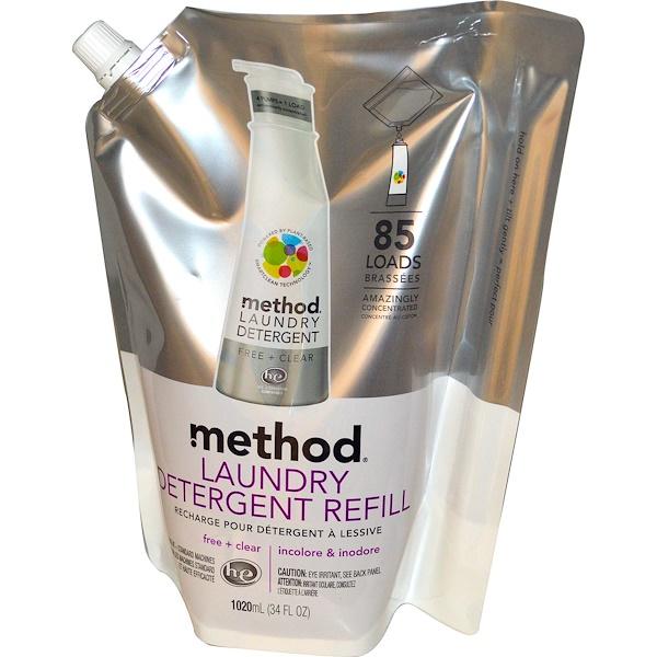Method, Жидкое средство для стирки в экономичной упаковке, 85 стирок, без запаха и красителей, 1020 мл (34 жидких унции) (Discontinued Item)