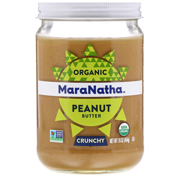 Органическое арахисовое масло, хрустящее, 454 г (16 унций)