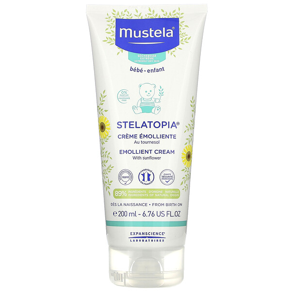 Mustela, Stelatopia, Emollient Cream with Sunflower, Fragrance Free, 6.76 fl oz (200 ml)