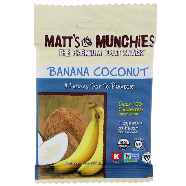 Matt's Munchies, Банан, кокос, 12 пакетов, 1 унц. (28 г) каждый (Discontinued Item)