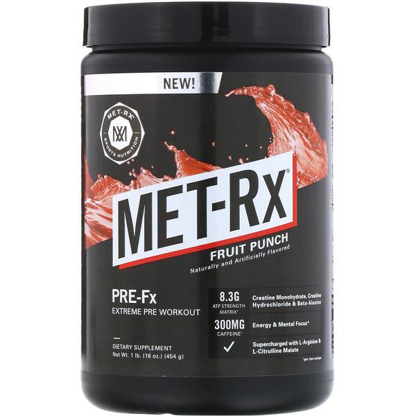 MET-Rx, Предтренировочный комплекс Pre-Fx Extreme, фруктовый пунш, 16 унц. (454 г) (Discontinued Item)