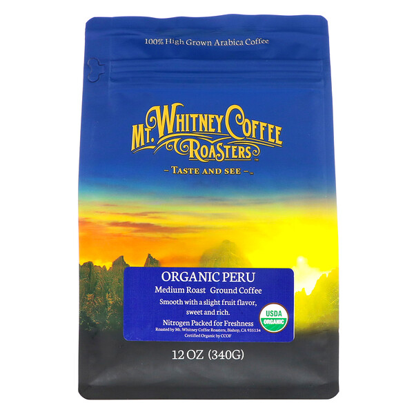 Mt. Whitney Coffee Roasters, Органический перуанский молотый кофе средней обжарки, 12 унций (340 г)