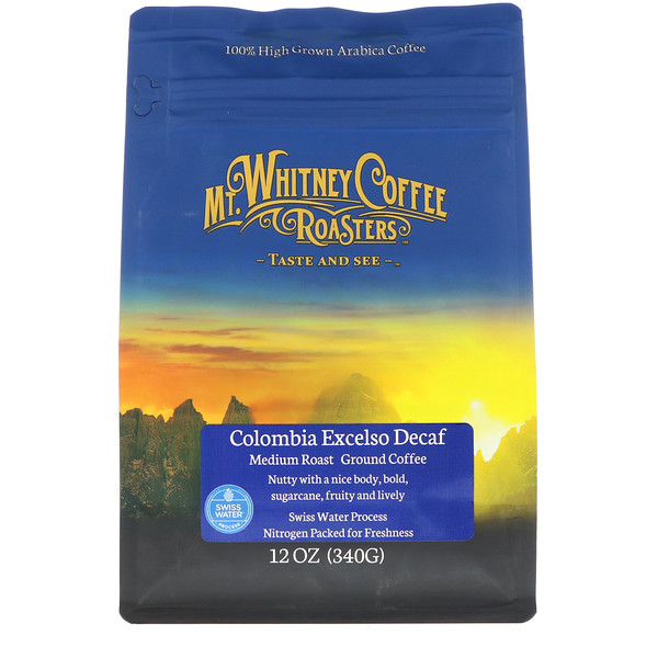 Mt. Whitney Coffee Roasters, Колумбийский Excelso молотый кофе без кофеина, 12 унций (340 г) (Discontinued Item)