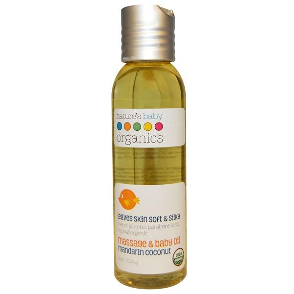 Organic, массажное и детское масло, мандарин и кокос, 4 унции (113,4 г)