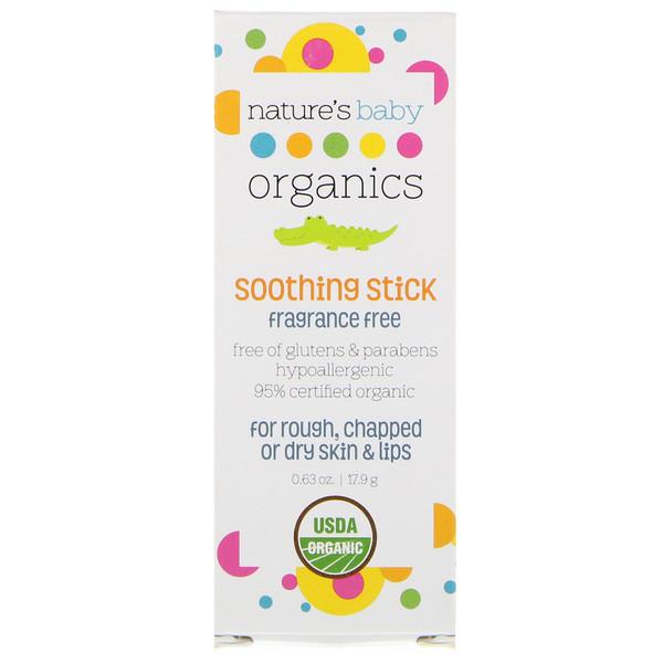 Nature's Baby Organics, Успокаивающий стик, без запаха, 0.63 жидкой унции (19 мл) (Discontinued Item)