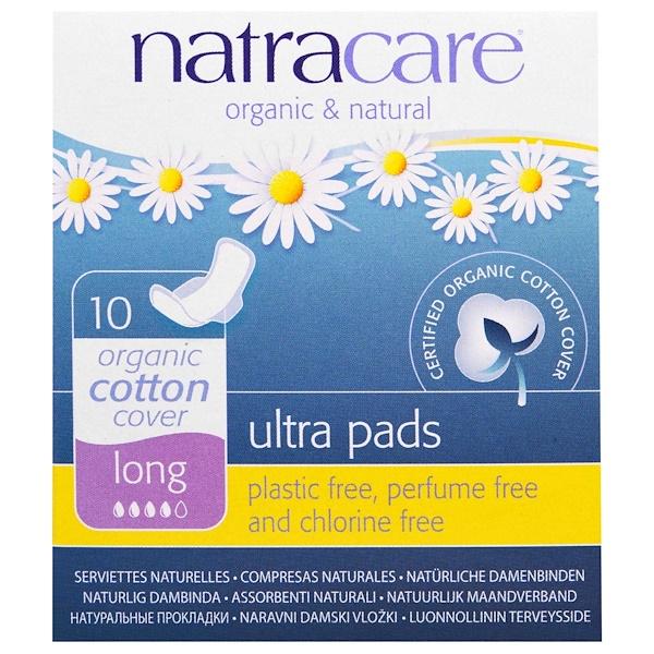 Natracare, Прокладки Ultra, поверхность из органического хлопка, длинные, 10 штук