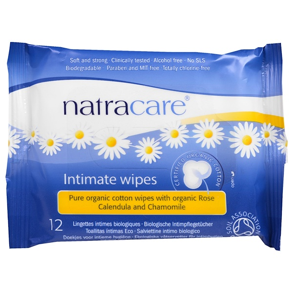 Сертифицированные органические хлопковые салфетки для интимной гигиены, 12 салфеток